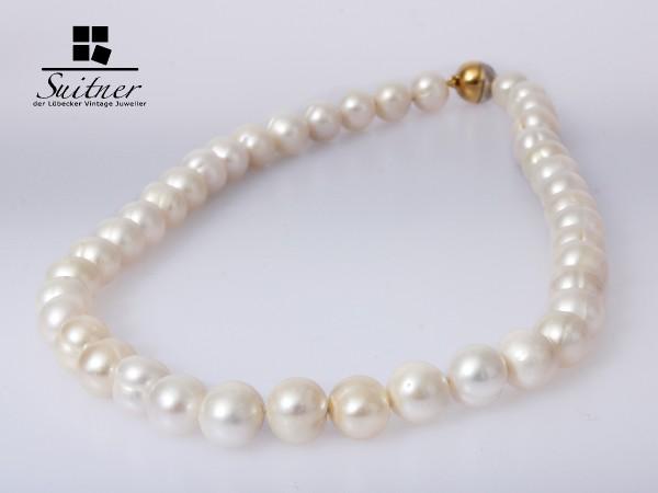XL Perlenkette mit Gold Silber Magnetschloss 10-11 mm