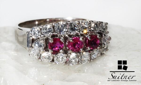 antiker Brillant und Rubin Ring aus Weißgold Art Deco