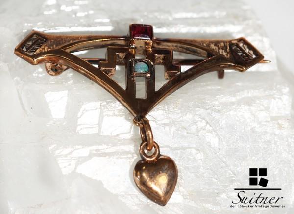 feine Jugendstil Brosche mit Opal und Turmalin Art Nouveau Brooch