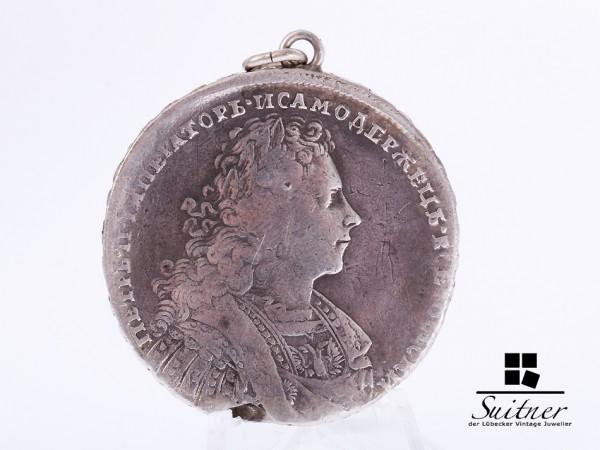 1 Rubel Russland Zar Peter 1728 gehenkelt Silber s bis ss