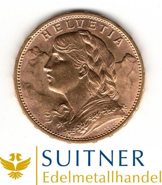 20 Franken Gold - CHF - Vreneli Goldmünze Anlagegold