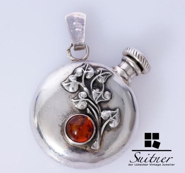 antiker Silber Flacon Anhänger mit Bernstein Jugendstil Parfüm Floral Amber