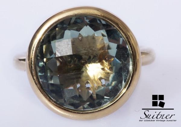 Prasiolith / grüner Amethyst Ring 585 Gold XL Gr. 56