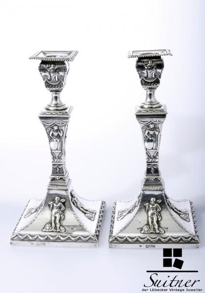 Paar viktorianische Tafelleuchter William Comyns um 1898 Echtsilber