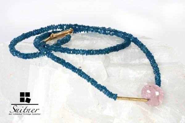 Design Kette blauer Turmalin Indigolith, Rosenquarz und 585 Gold