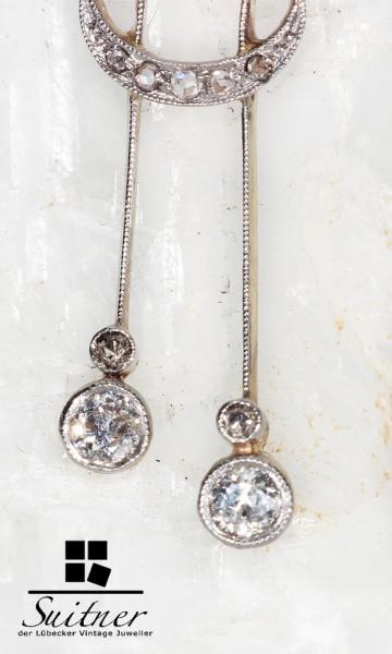 antikes Collier Jugendstil Art Nouveau Toi-et-Moi Lavaliere mit Diamanten