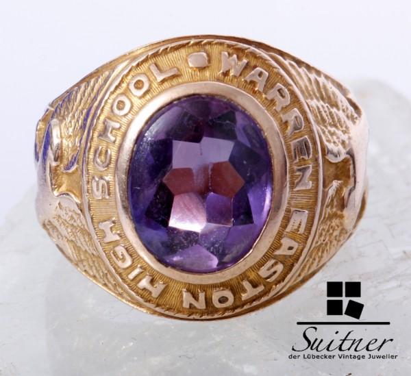 USA College Ring 1936 Warren Easten High School Amethyst Gold antik