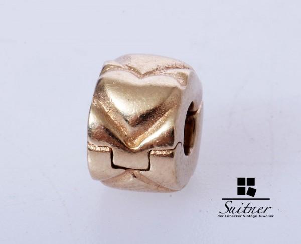 Pandora Charm Stopper Clip 585 Gold Herz Herzen