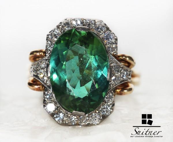 antike Turmalin Ring Juweliers Kunst 585 Gold Platin Diamanten Vintage