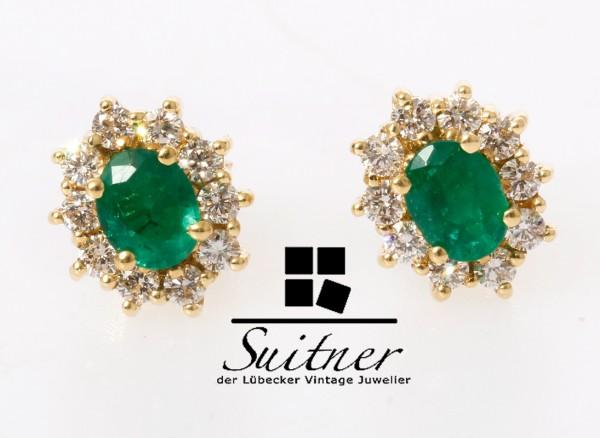klassische Smaragd Ohrstecker 1,09ct. Brillant 750 Gold