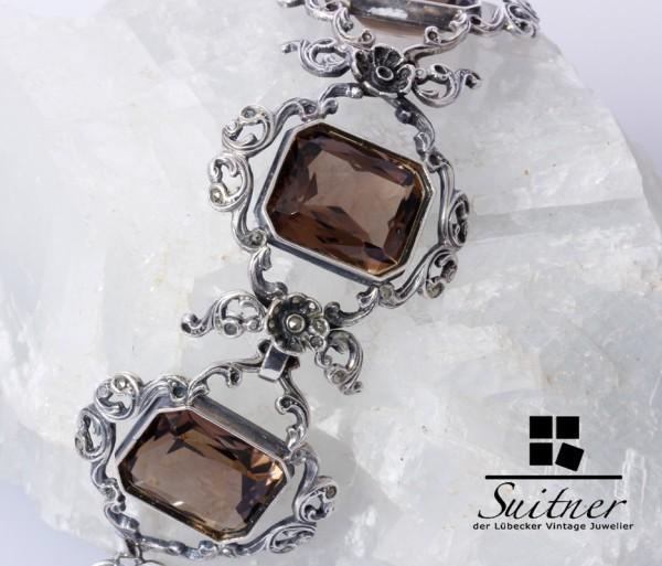 prächtiges Armband im Stile des Barocks mit Rauchquarz aus Silber floral
