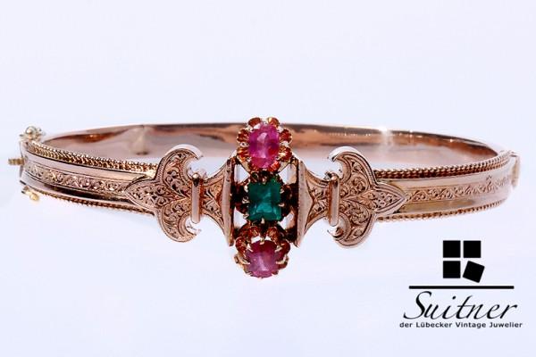 Antiker Armreif Rotgold 585 Rubin / Smaragd