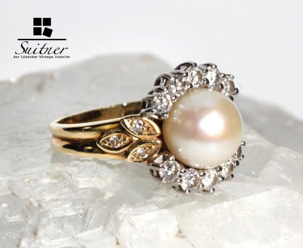 luxuriöser Perlenring mit Brillanten