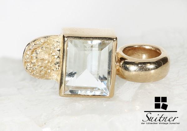 feiner Bergkristall Anhänger aus Gold modernes Design Nugget Diamant