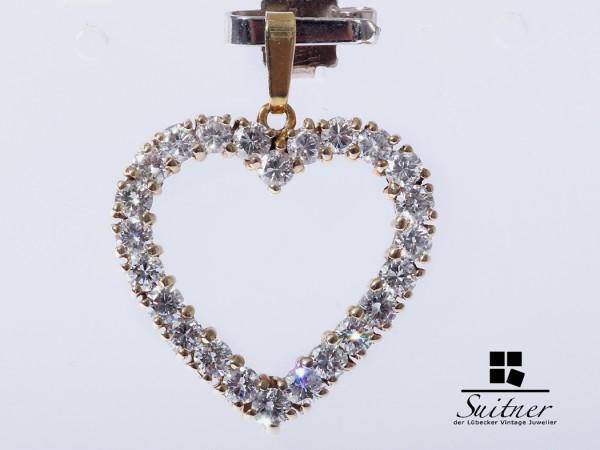 hochwertiger Brillant Anhänger Herz ca. 1,20 ct. 585 Gold Heart Diamonds