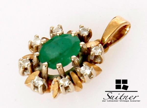 feiner Smaragd Brillant Anhänger aus 585 Gold Klassiker