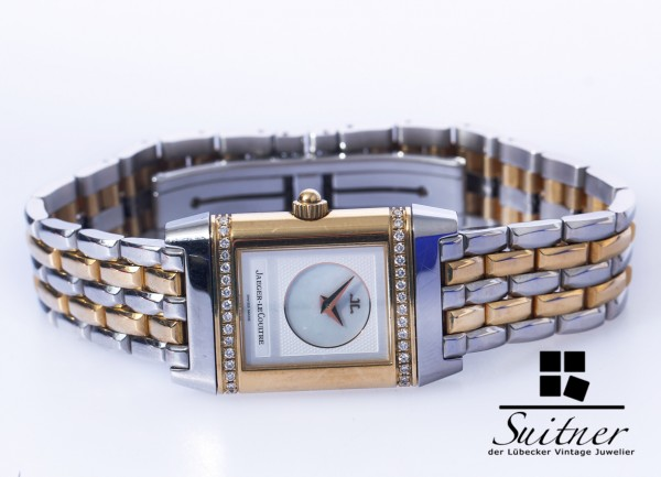 Jaeger-LeCoultre Reverso Duetto Lady Brillanten 266.5.44 Stahl Gold Duo Face Full Set