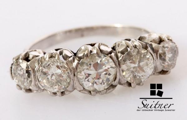 prächtiger antiker Art Deco Ring 950 Platin mit 2,37ct. Diamanten 55