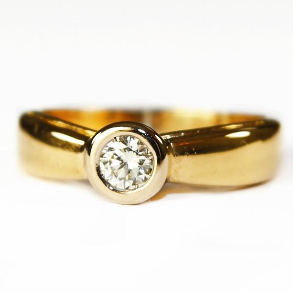 massiver 0,50ct Brillant Design Solitär Ring 585 Gold Gr. 63 lupenrein Wesselton