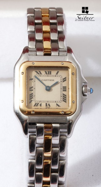 Cartier Panthere Lady Stahl Gold Umkarton Box Papiere Full Set