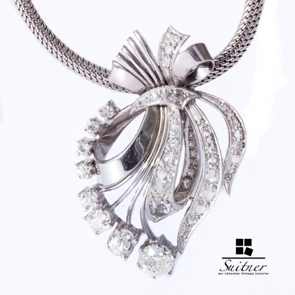 Art Deko Collier mit zus. ca. 3,00 ct. Diamanten außergewöhnlich Luxus 585 Weißgold Einkaräter