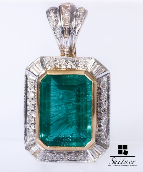 Perlenclip mit Smaragd- farbener Synthese Brillanten Diamanten 585 Gold