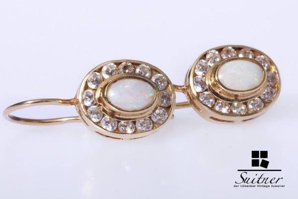Opal Ohrhänger mit Zirkonia aus Gold
