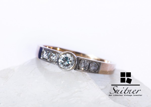 moderner Brillant Ring 585 Gold mit 5 Brillanten Verlobung Gr. 57