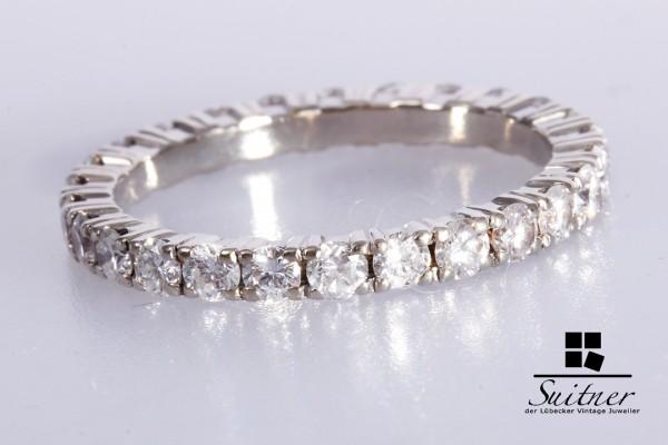 Memoire Ring Brillanten zus. ca. 1,3 ct 585 Weißgold Gr. 55