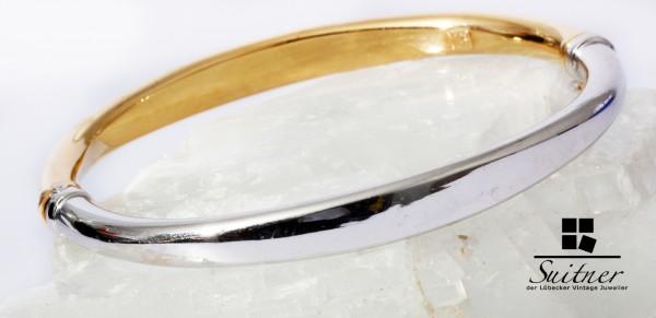 moderner Armreif 585 Weißgold Gelbgold 17 cm Spange Gold