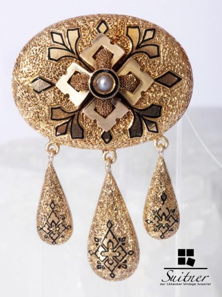 antike Biedermeier Brosche aus Gold mit Emaille