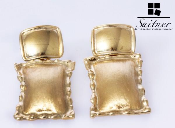 extravagante große Ohrstecker matt glänzend 585 Gold XL Kissen Form