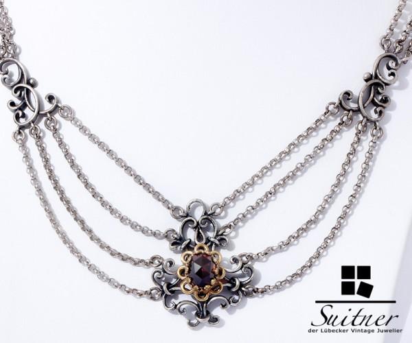 prächtiges Trachten Collier Silber / Gold und böhmischer Granat Rot