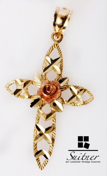 feiner Kreuz Anhänger 585 Gold mit Rosenblüte Blume Gott Cross