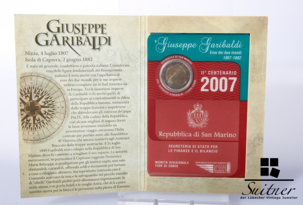 San Marino 2,- Euro 2007 R Garibaldi Originalverpackung Münze Blister