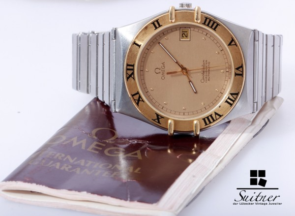 Omega Constellation Stahl Gold Automatik mit Papiere großes Modell ca. 1111