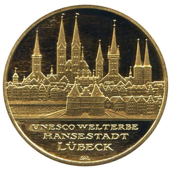 100 Euro Gold Hansestadt Lübeck 2007 Prägestätte A im Etui mit Zertifikat