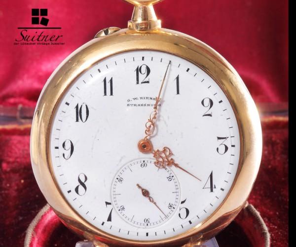 Union Glocke Taschenuhr 750 Gold im Original Etui Rieber um 1900