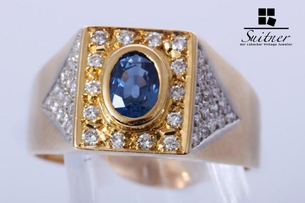 Herren Ring Saphir Brillanten ca. 1,14 ct 750 Gold Gr 63 Siegelring