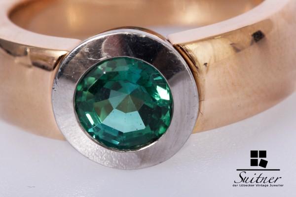 Turmalin Ring 1,50 ct 750 Gelbgold Gr. 54 massiv und klassisch