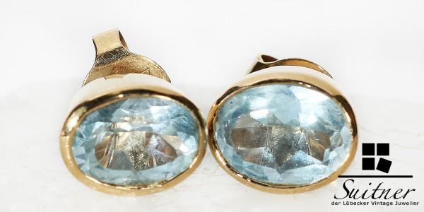 moderne Ohrstecker mit feinem Blautopas 585 Gold oval
