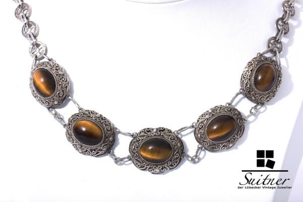 antikes Filigranschmuck Collier aus Silber Tigerauge Friesen Silver