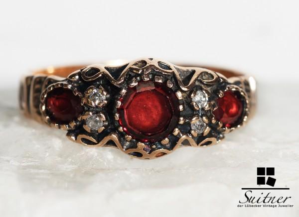 Roségold Ring 585 3 Almandine antik