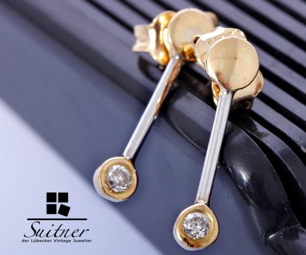 feine Ohrringe Hänger mit Brillanten 585 Gold im Stabdesign Stab