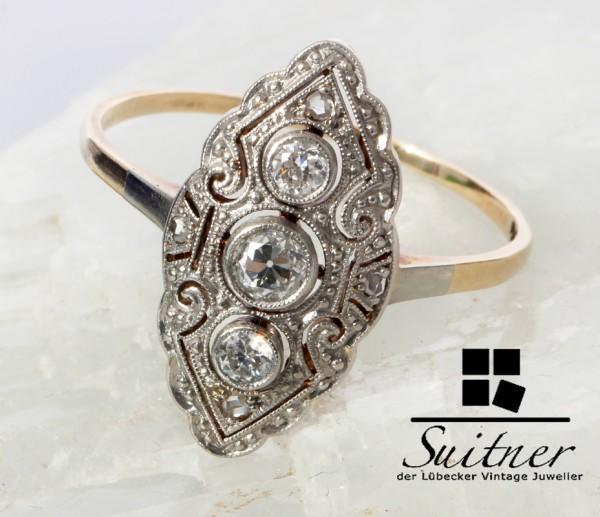 antiker Art Deco Ring Schiffchenring Diamant 585 Gold Platin Navette 58