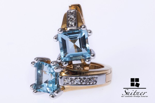 Creolen Ohrringe Blautopas 585 Gold Brillanten modern