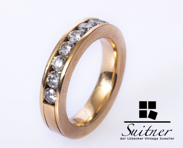 1,20ct. Alliance Brillant Ring 750 Gold Gr. 53,5 vsi Top Wesselton Memorie