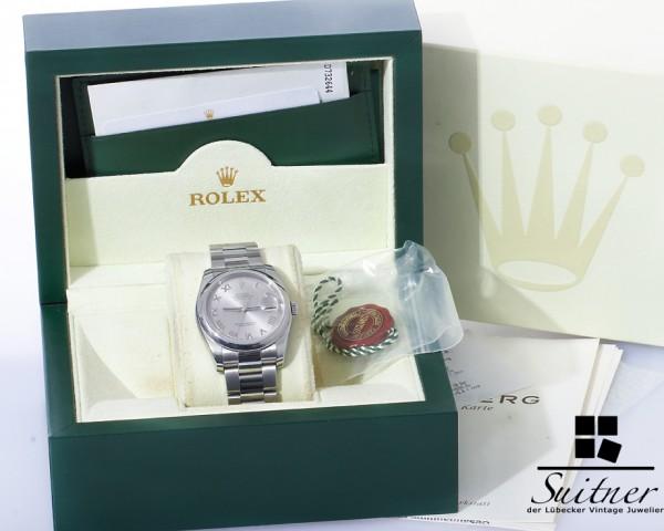 Rolex Datejust 36 Ref. 116200 Roman Silver mit Box Papieren LC100