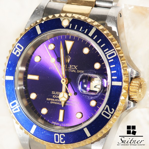 Rolex Submariner 16613 Stahl Gold mit Purple Zifferblatt