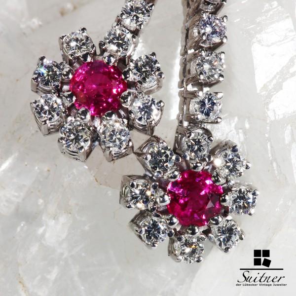 1,81ct. Juwelen Ohrringe / Hänger Pink Saphir 750 Gold Rubin Brillanten